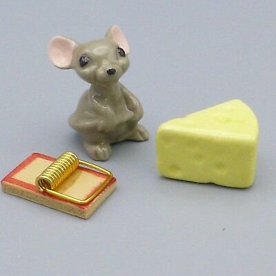 Vintage Hagen Renaker Gray Mama Mouse & Cheese Miniature Figurines w/ Mouse Trap