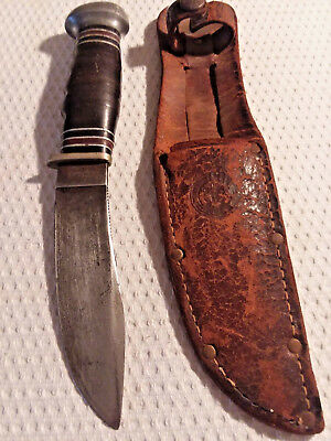 Vintage Remington  Dupont RH50 Boy Scout Hunting Knife with Leather Sheath