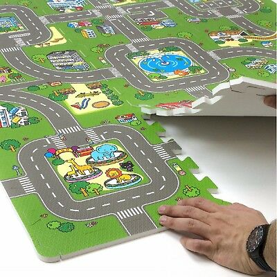 Kids Road Traffic Play Mat Puzzle Foam Interlocking Tiles (9 Tiles with Borders)