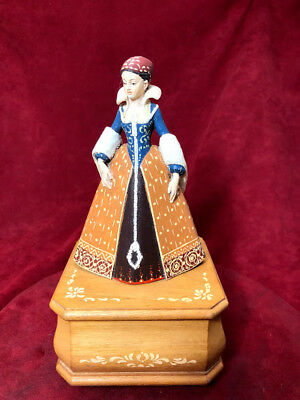 Anri Music Box Hand Carved Reuge 36 Note Beethoven's Sonate Au Clair De Lune