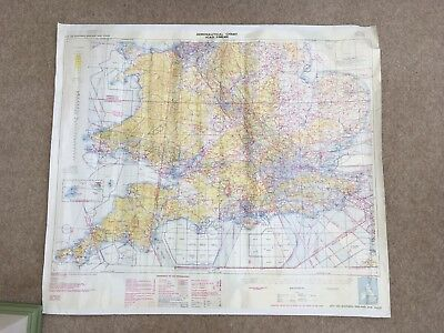 Aeronautical chart ICAO Southern England Showing All Air Bases From Ww11 And Now