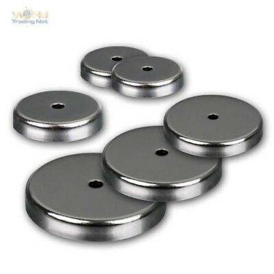 Round Magnet with Centre Hole to 43kg Holding Strength Chrome-Plated Chromblende