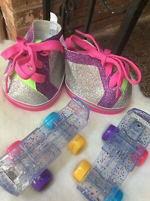 Rainbow Wheel Roller Skates clear adjustable Build-a-Bear and Glitter sneakers