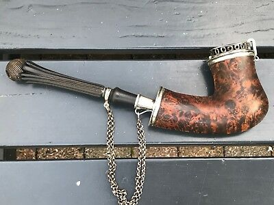 Antique 18th Century Hardwood, Burl Walnut and Silver Work Bag Form Pipe