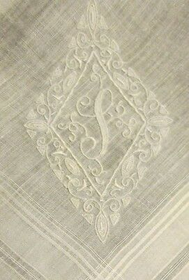 "19"" Antique Vtg Marghab Madeira Hanky Linen Initial Monogram I P White Wedding"