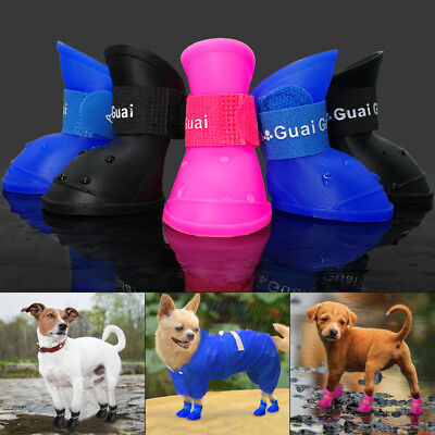 Waterproof Rubber Dog Shoes Anti-slip Dog Rain Boots Booties Chihuahua Shoes