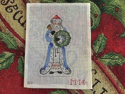MM Designs 18 count Needlepoint Canvas 21X Victorian Santa w/Bell and Wreath