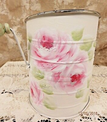 Shabby Hand Painted Sifter With Handle - Hp French Pink Roses - Vintage Charming