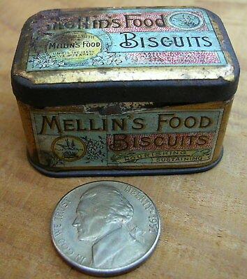 RARE  Tiny – Antique MELLIN'S FOOD BISCUITS Sample Tin – 1 Inch Tall