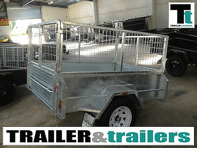 "6x4 GALVANISED CAGE TRAILER - 18""HIGH SIDES - 2FT CAGE - SPARE WHEEL - JOCKEY"