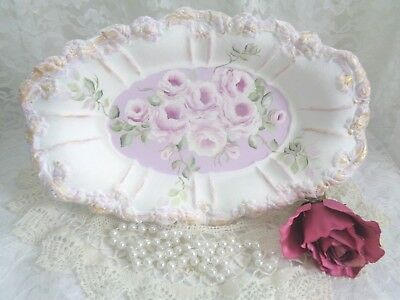 LOVELY LAVENDER/VIOLET ROSES TRAY hp vintage shabby cottage chic hand painted