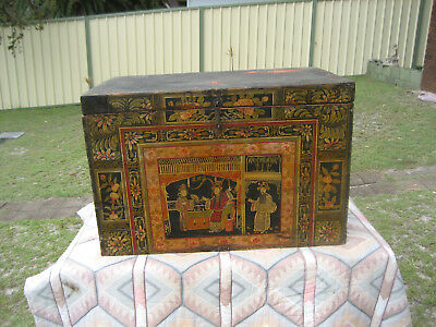 Antique/vintage Large Timber Hand Painted Japanese Trunk/chest