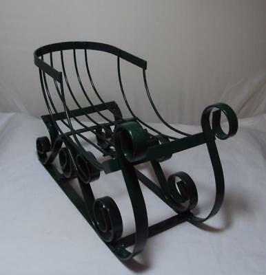 Vintage Green Metal Sleigh Christmas Decor