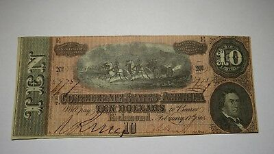 $10 1864 Richmond Virginia VA Confederate Currency Bank Note Bill Civil War FINE