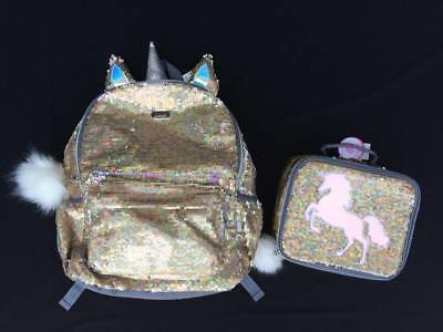 NWT Justice Girls Gold Unicorn Flip Sequin Backpack Lunchbox Set Free Shipping