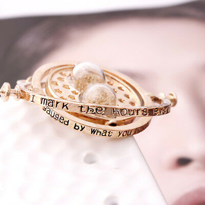 Potter Hermione Granger Rotating Time Turner Necklace Gold Hourglass Harry