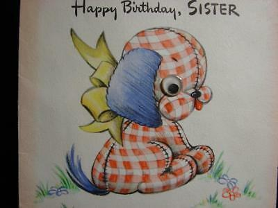 "Vintage ""wanna See A Sister Who's Ok In Every Way?!!"" Birthday Greeting Card"