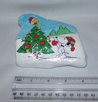 Hand Painted River Rock Snoopy Woodstock Peanuts Gang Christmas Tree Collectible
