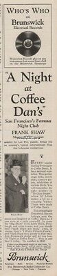1929 Brunswick Phonograph Record Night at Coffee Dans Frank Shaw Photo Ad