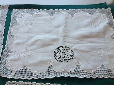 """6Ant/ Vtg Ivory Linen Madeira Place Mats 16"""" X 12"""" Embroidery/ Cut-Work #6"""
