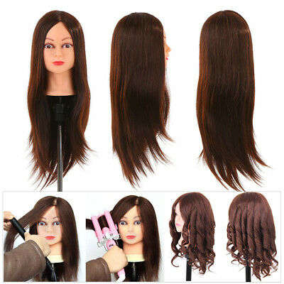 "24"" Hair Dummy Head Hairdressing Training Head Salon Head + Clamp Holder M5T3"