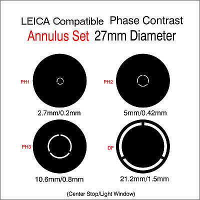 V00. Microscope 27mm Diameter  Phase Contrast Set LEICA Compatible