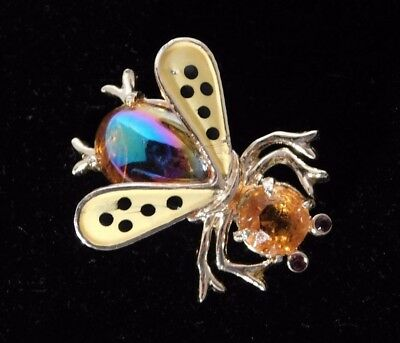 Vintage Weiss Gold Tone Bumble Bee Insect Bug Jelly Belly Pin Brooch