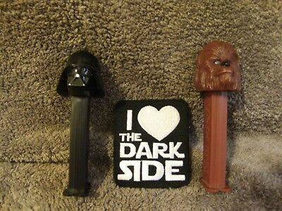 Darth Vader and Chewbacca Pez Dispensers~Plus Dark Side Patch