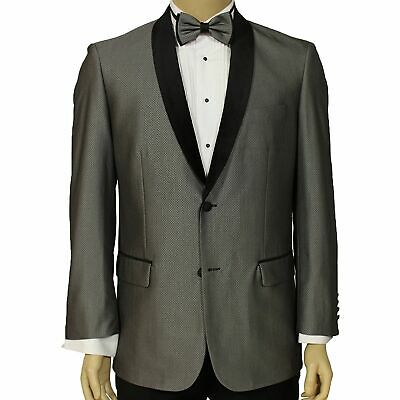 Maenza Men's Silver Gray Muted Jacquard 2 Button Classic Fit Tuxedo Jacket NEW