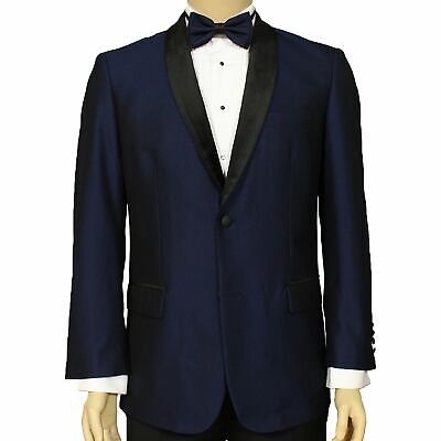 Maenza Men's Midnight Blue Muted Jacquard 2 Button Classic Fit Tuxedo Jacket NEW