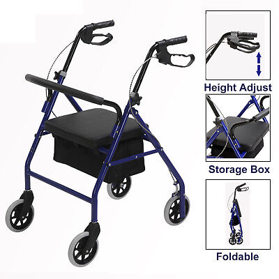 Casters Medical Rollator Fold Up Rolling Senior Walker with Padded Seat Blue