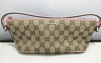 b38897e13e6 GUCCI GG Canvas Bag Pouch Pink Ladies 07198 2123 Authentic Pre-owned  yz006
