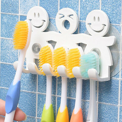 Toothbrush Towel Holder Wall Bathroom Hanger Suction Cup Stand Hook Family Set