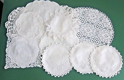 Vintage White Embroidered Crochet Trimmed Doilies Bulk Lot of 9