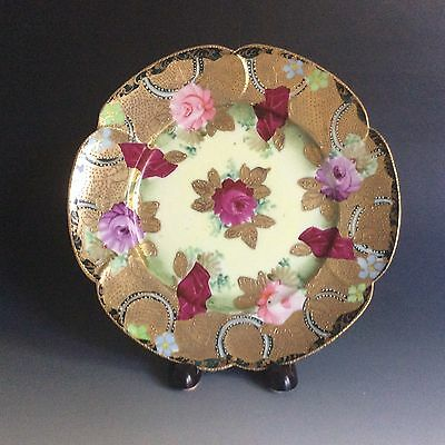 Antique Hand Painted Japanese Porcelain Plate Heavy Gold Signed Tashiro (田代)
