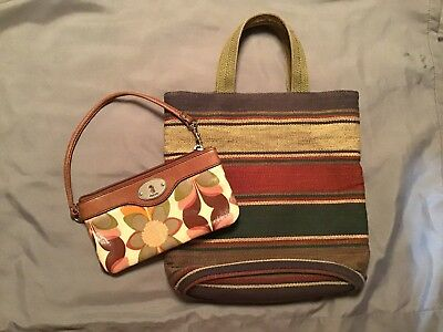 1f0815cc1ab Fossil Keyper Coated Canvas/Leather Trim Wristlet Floral Multi And Canvas  Tote