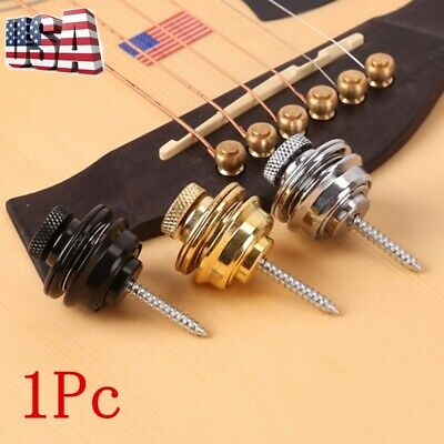 Skidproof Flat Head Chrome Strap Lock For Electric Acoustic Guitar Bass Accs