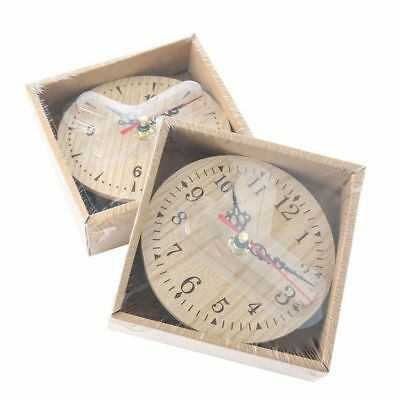 Vintage Rustic Wooden Wall Clock Antique Shabby Chic Retro Home Kitchen Decor US