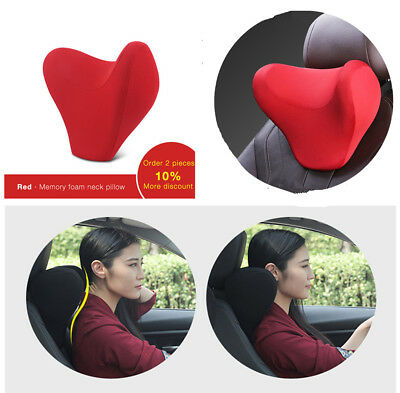 Red U Shape Soft Memory Cotton Car Seat Travel Office Home Neck Pillow Headrest
