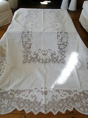 Antique Linen - Lovely  Tablecloth With Embroidered Florals, Birds