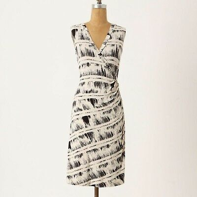 1c5a04db92f9 Anthropologie Deletta Isabel Faux Wrap Jersey Knit Dress Size Medium Ivory  Black