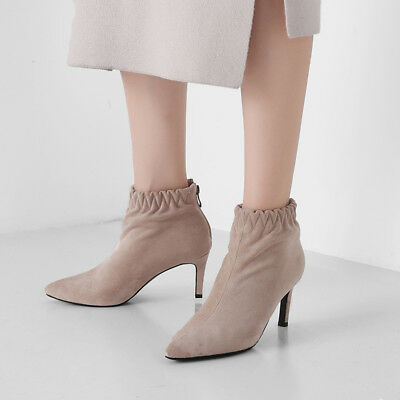 Womens Sexy Faux Suede Zip High Heels Pointed Toe Ankle Boots Shoes Size 33-43
