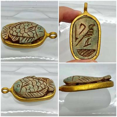 (5CM)Wonderful  ANCIENT EGYPTIAN  FISH CARVE SEAL AMULET PENDANT Gift Colectible