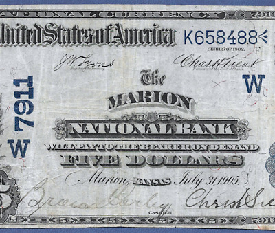 Ks  1902 $5 Date-Back ♚♚ Marion, Kansas ♚♚  Very Hard To Find