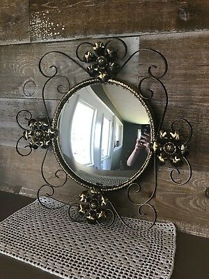 Vintage Round Bronze Gold Tone Metal Framed Convex Mirror Bubble Glass Mirror