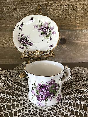 Hammersley Victorian Violets Tea Cup and Saucer Ruffle Design Vintage