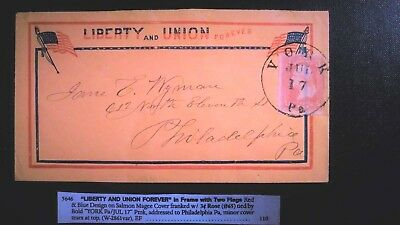 "65 Civil War Patriotic - Scarce Salmon Colored ""Liberty & Union"" EXTREMELY FINE"