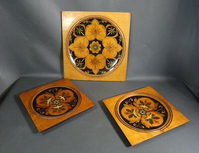 1880 Antique Wooden Treen Itarsia Marquetry Inlay set 3 Wall Plates Charger Tray
