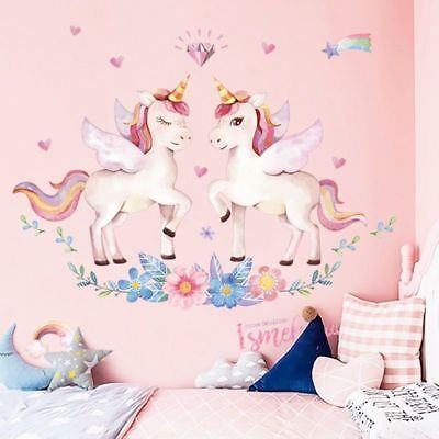 Unicorn Wall Sticker Rainbow Wall Decal Bedroom Nursery Decoration Simple