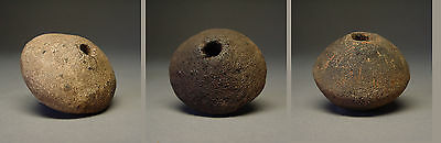 Antique Ban Chiang Clay Spindle Whorl Beads. Set Of Three (3) Assorted Beads.